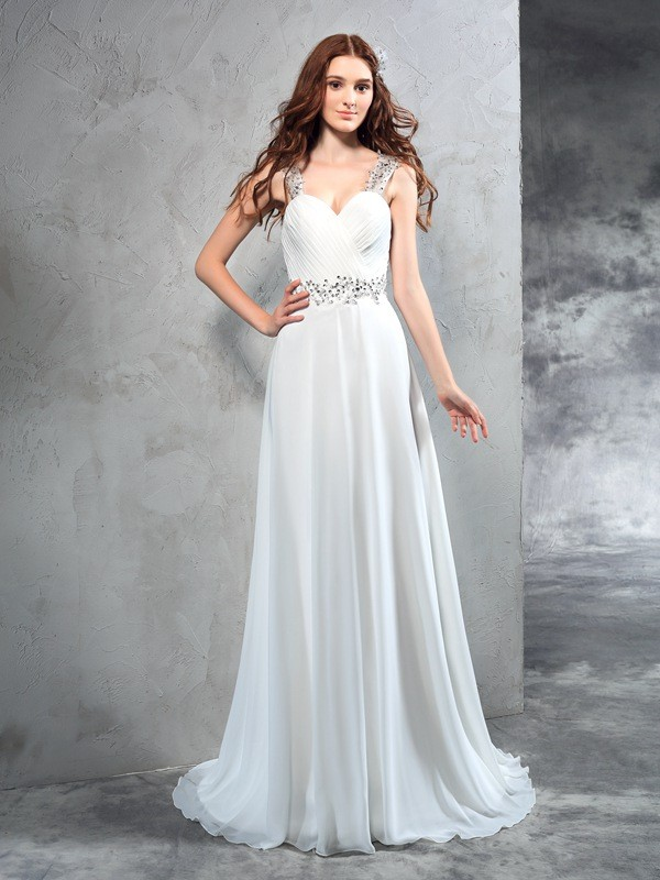 Chicregina A-Line/Princess Sweetheart Sweep/Brush Train Chiffon Wedding Dress with Embroidery Pleats