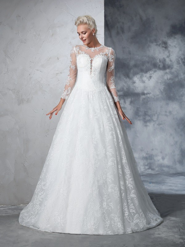 Chicregina Ball Gown Long Sleeves Jewel Lace Court Train Wedding Dress with Rhinestone