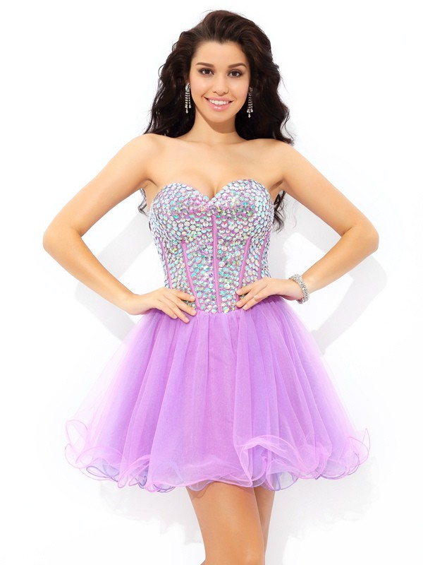 Chicregina A-Line/Princess Sweetheart Paillette Mini Net Cocktail Dress with Beading