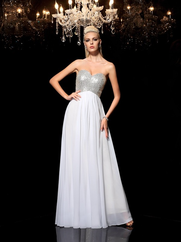 Chicregina A-Line/Princess Sweetheart Sequin Floor-Length Chiffon Dress with Lace