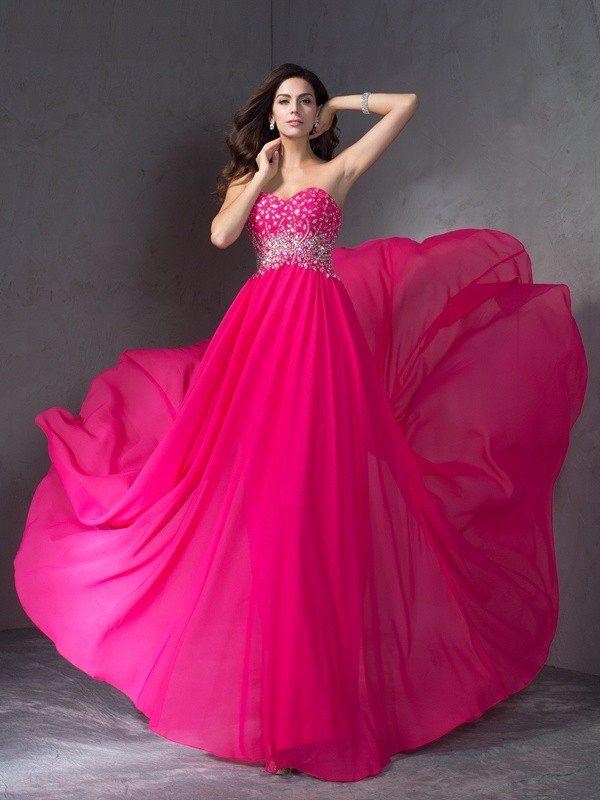 Chicregina A-Line/Princess Sweetheart Sweep Train Chiffon Dress with Beading