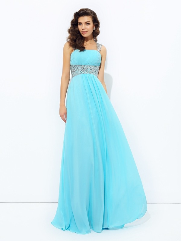 Chicregina A-Line/Princess Straps Floor-Length Chiffon Dress with Ruched Sequin