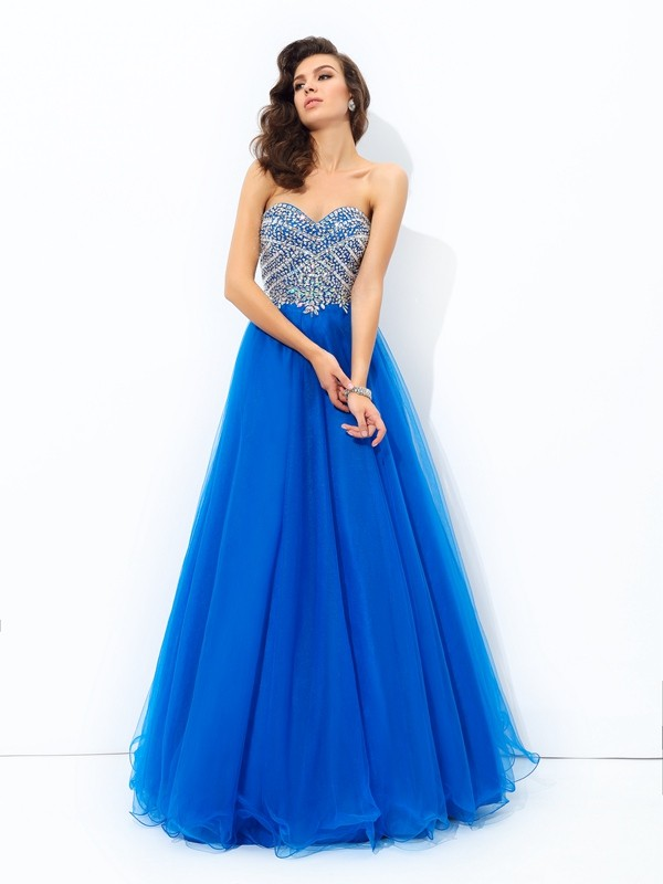 Chicregina A-Line/Princess Sweetheart Floor-Length Net Dress with Lace Sequin