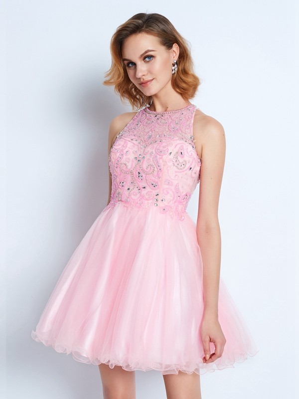 Chicregina A-line/Princess Sleeveless Short Net Ruffles Dress with Jewel