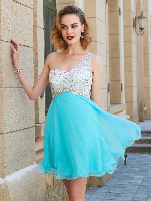 Chicregina A-line/Princess Sleeveless One-Shoulder Chiffon Short Prom Dress with Beading