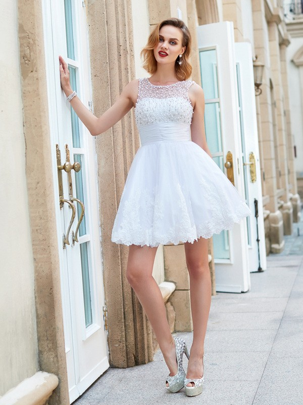 Chicregina A-Line/Princess Jewel Sleeveless Short Prom Dress with Pearls Lace