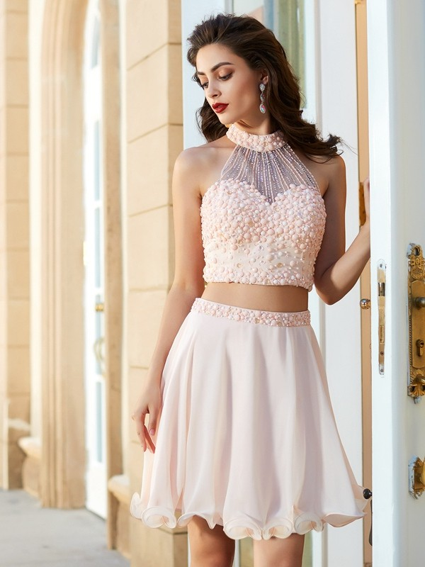 Chicregina A-Line/Princess Halter Sleeveless Chiffon Short Two Prom Piece Dress with Beading