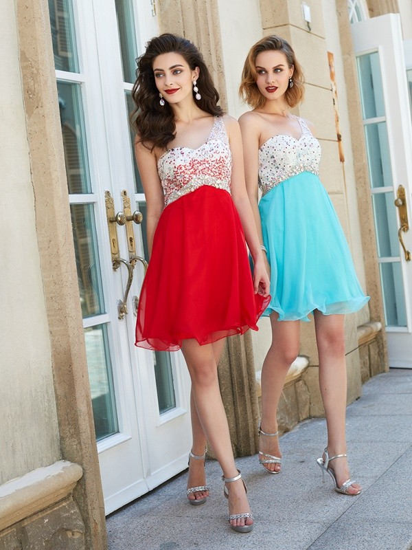 Chicregina A-line/Princess Chiffon One-Shoulder Sleeveless Short Prom Dress with Beading