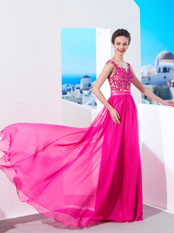 Chicregina A-Line/Princess Sleeveless Sheer Neck Sweep/Brush Train Chiffon Dress With Applique