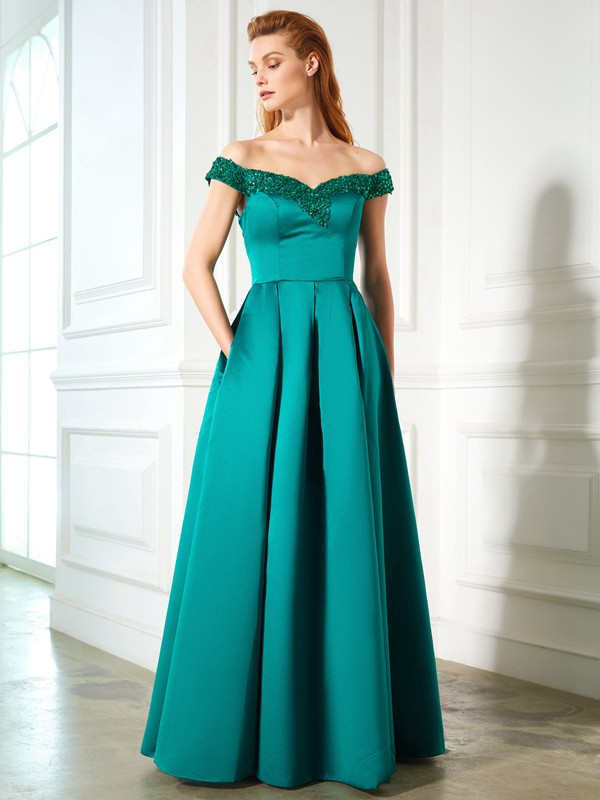 Chicregina A-Line/Princess Off-the-Shoulder Sequin Sleeveless Long Dress With Satin