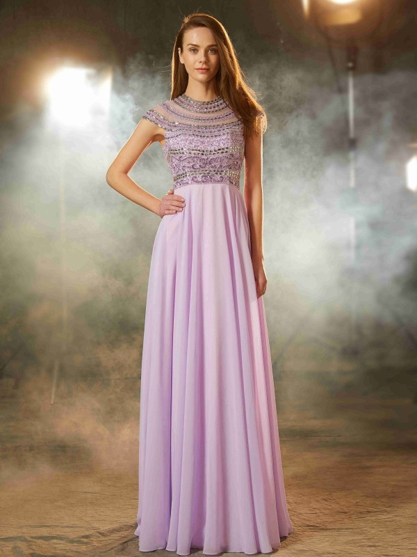 Chicregina A-Line/Princess Scoop Short Sleeves Long Chiffon Dress With Beading