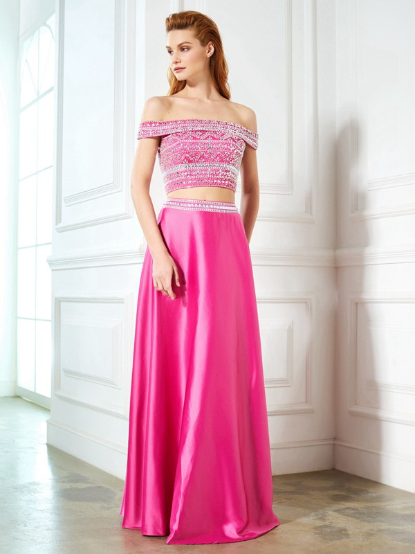 Chicregina A-Line/Princess Off-the-Shoulder Sleeveless Satin Long Two Piece Dress With Beading