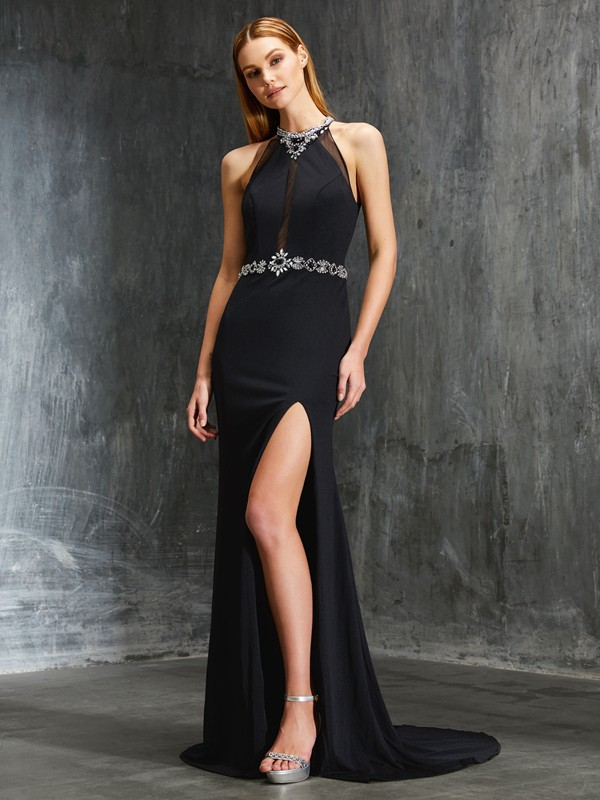 Chicregina Sheath/Column High Neck Sleeveless Sweep/Brush Train Spandex Dress With Beading