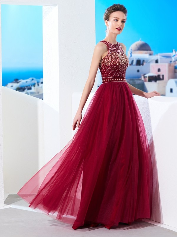 Chicregina A-Line/Princess Scoop Sleeveless Long Tulle Dress With Beading