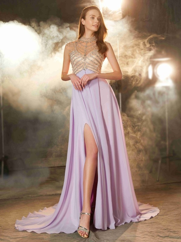 Chicregina A-Line/Princess High Neck Sleeveless Sweep/Brush Train Chiffon Dress With Crystal