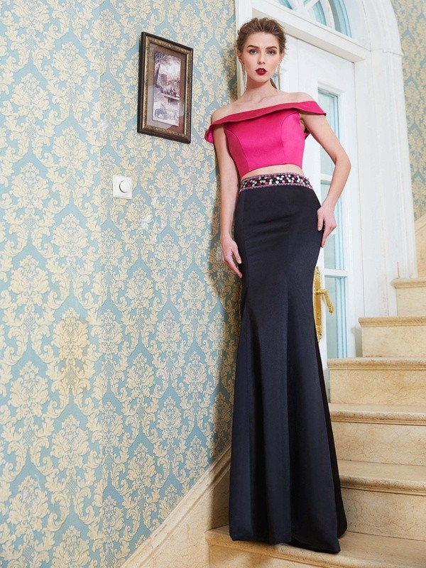 Chicregina Trumpet/Mermaid Off-the-Shoulder Sleeveless Long Satin Two Piece Dress With Beading