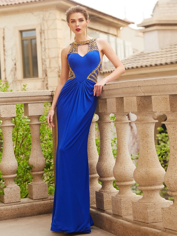 Chicregina Sheath/Column Scoop Sleeveless Long Spandex Dress With Beading