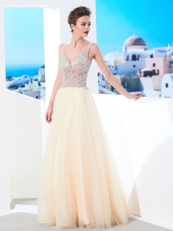 Chicregina Ball Gown V-neck Sleeveless Long Tulle Dress With Beading