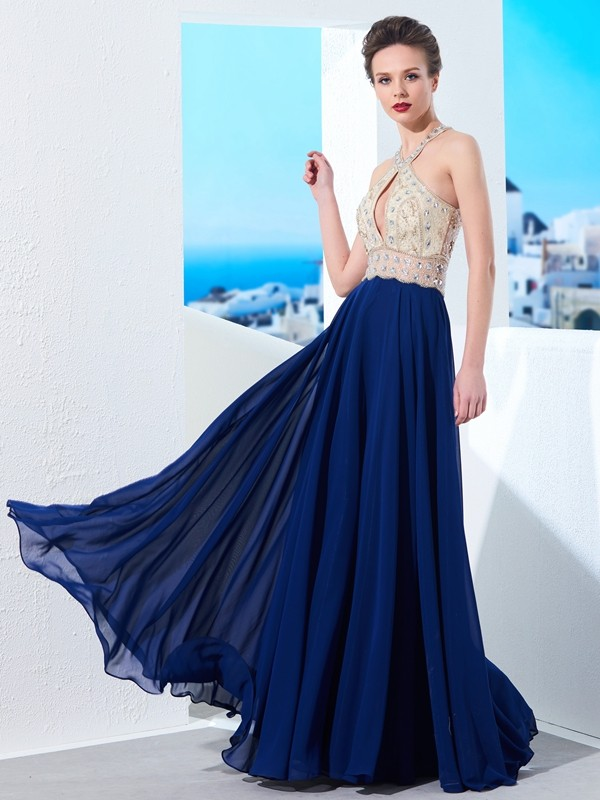 Chicregina A-Line/Princess Sleeveless Straps Chiffon Long Dress With Beading