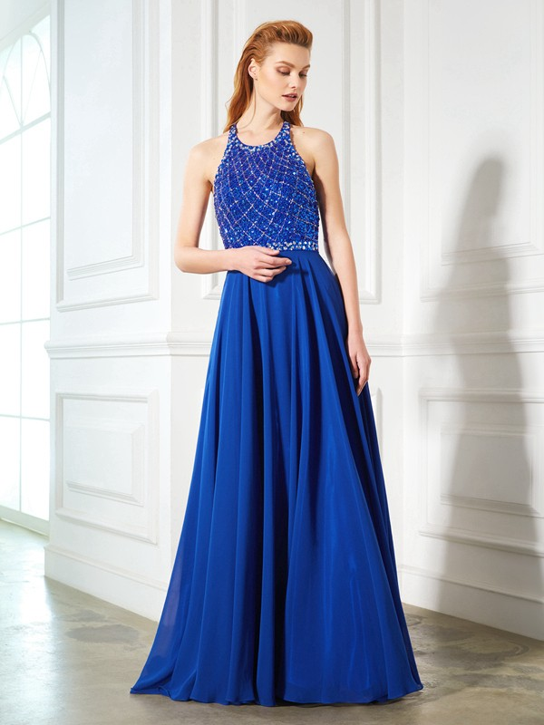 Chicregina A-Line/Princess Jewel Sleeveless Chiffon Sweep/Brush Train Dress With Beading