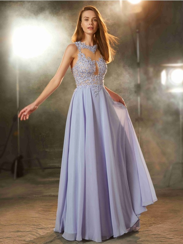 Chicregina A-Line/Princess Scoop Sleeveless Long Chiffon Dress With Applique