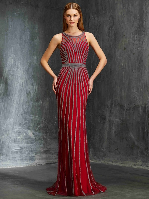 Chicregina Sheath/Column Scoop Sleeveless Net Sweep Train Dress With Beading
