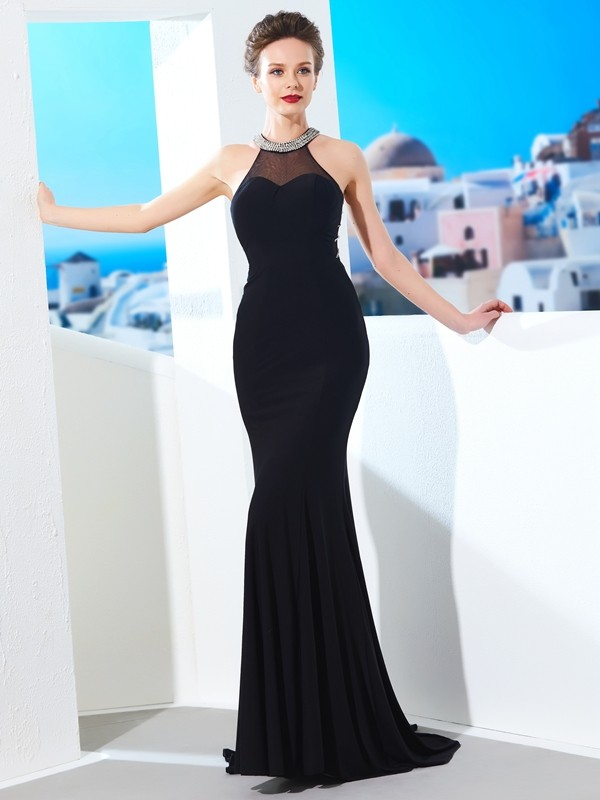 Chicregina Sheath/Column Jewel Sleeveless Spandex Sweep/Brush Train Dress With Beading