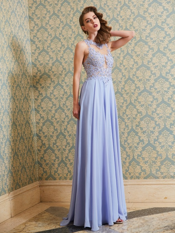 Chicregina A-Line/Princess Sleeveless Long Chiffon Dress With Applique