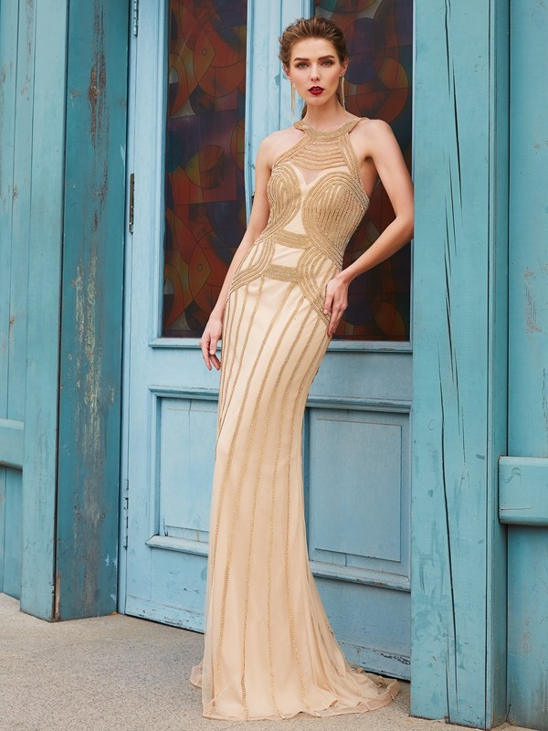 Chicregina Sheath/Column High Neck Sleeveless Sweep Train Net Dress With Beading