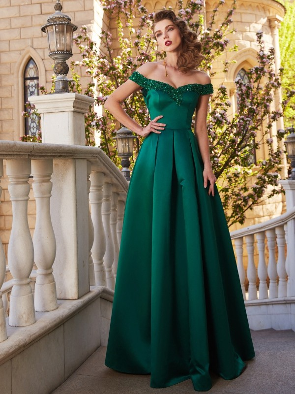 Chicregina A-Line/Princess Off-the-Shoulder Sleeveless Satin Long Dress With Sequin