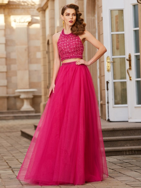 Chicregina A-Line/Princess Halter Sleeveless Tulle Long Two Piece Dress With Beading
