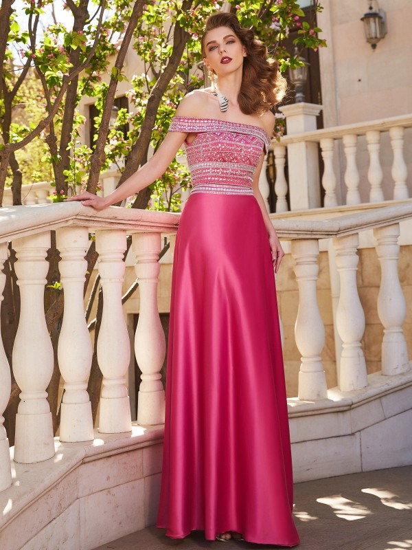 Chicregina Princess Off-the-Shoulder Sleeveless Satin Long Two Piece Dress With Beading