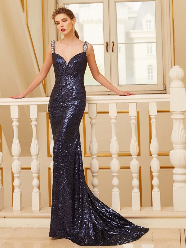 Chicregina Sheath/Column V-neck Sleeveless Sweep/Brush Train Sequins Dress With Beading