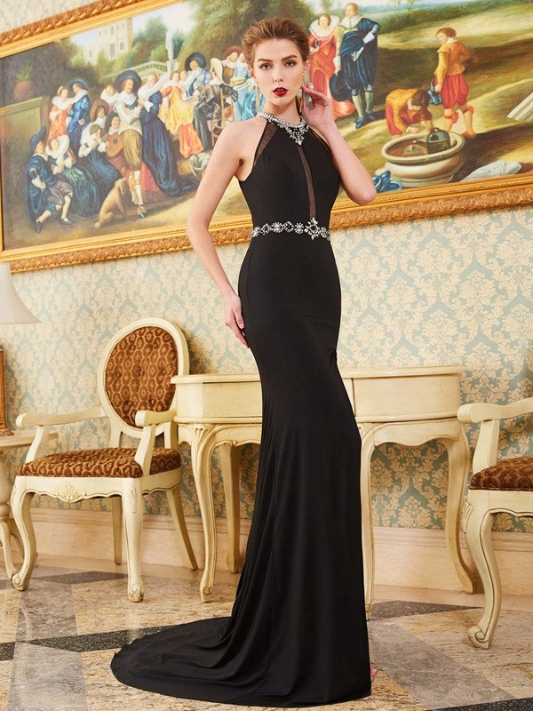 Chicregina Sheath/Column High Neck Sleeveless Sweep Train Spandex Dress With Beading