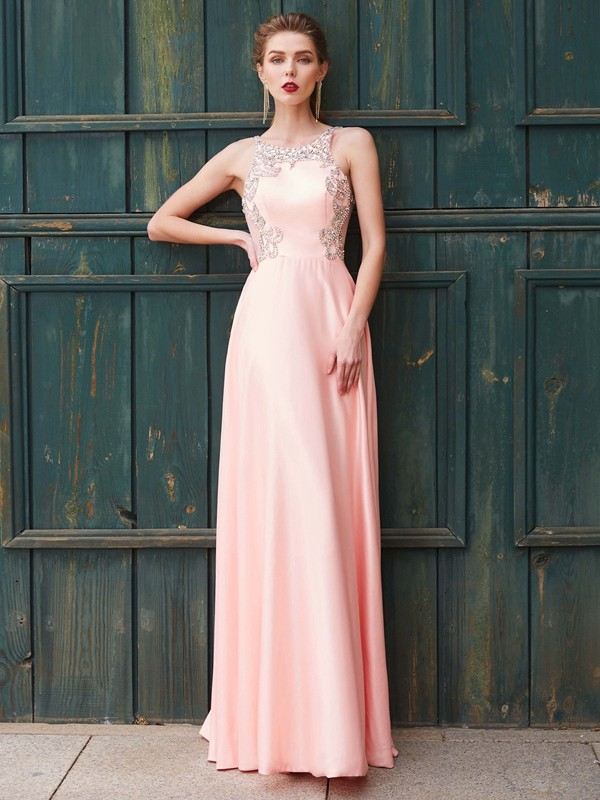 Chicregina A-Line Scoop Sleeveless Satin Long Dress With Beading