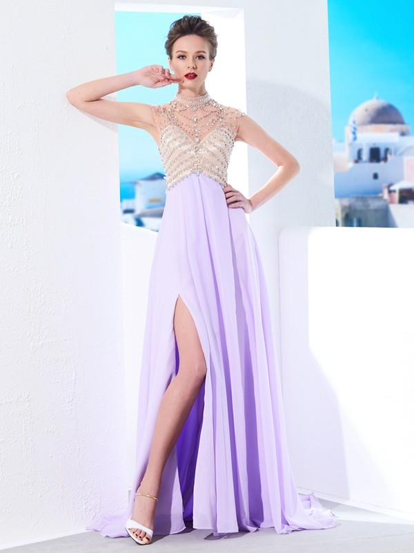 Chicregina A-Line/Princess High Neck Sleeveless Sweep Train Chiffon Dress With Crystal