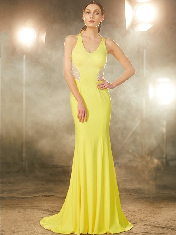 Chicregina Trumpet/Mermaid V-neck Sleeveless Sweep Train Spandex Dress With Beading
