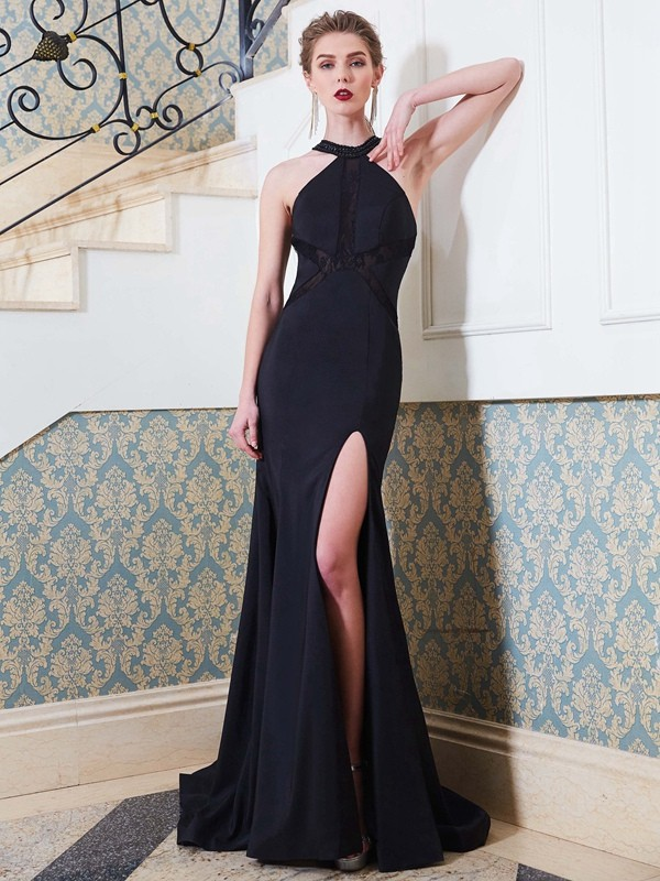 Chicregina Sheath/Column Jewel Sleeveless Sweep Train Elastic Woven Satin Dress With Beading