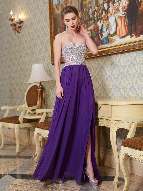 Chicregina Princess Sweetheart Sleeveless Long Chiffon Dress With Crystal
