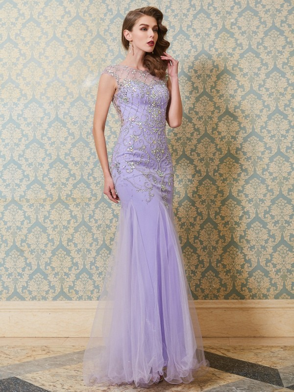 Chicregina Elegant Trumpet/Mermaid Scoop Sleeveless Long Tulle Dress With Beading