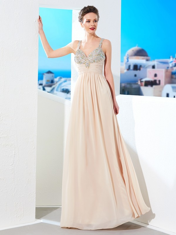 Chicregina Princess Spaghetti Straps Long Chiffon Dress With Beading