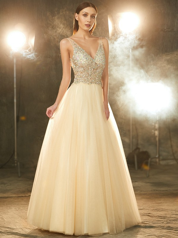 Chicregina Unique Ball Gown V-neck Sleeveless Long Tulle Dress With Beading