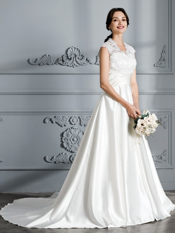 Ball Gown V-neck Sleeveless Court Train Satin Wedding Gowns