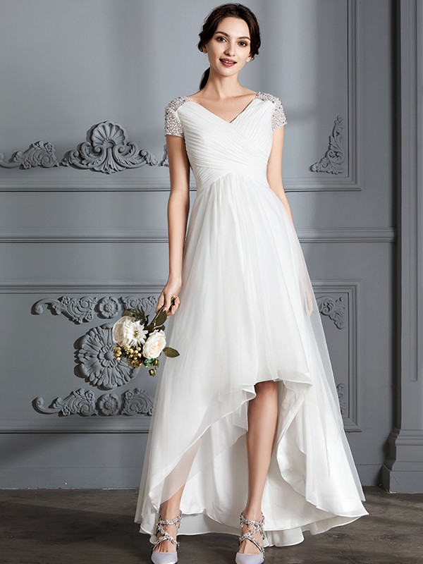 A-Line/Princess V-neck Short Sleeves Tulle Asymmetrical Wedding Gowns