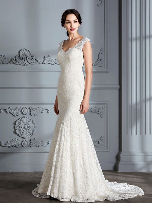 Trumpet Sleeveless V-Neck Lace Sweep/Brush Train Wedding Dresses