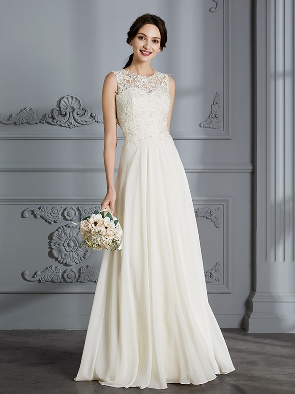 A-Line/Princess Scoop Floor-Length Chiffon Sleeveless Wedding Gowns