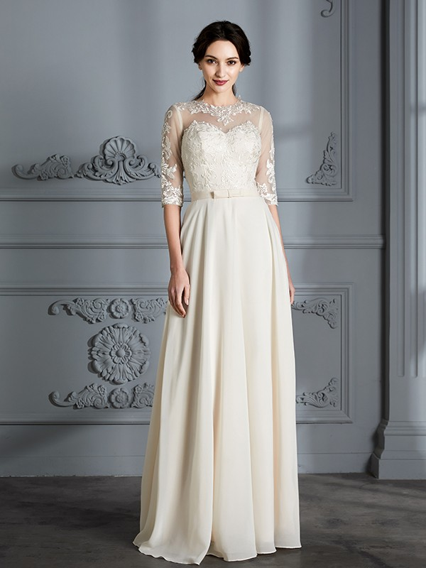 A-Line/Princess Scoop 1/2 Sleeves Chiffon Floor-Length Wedding Gowns