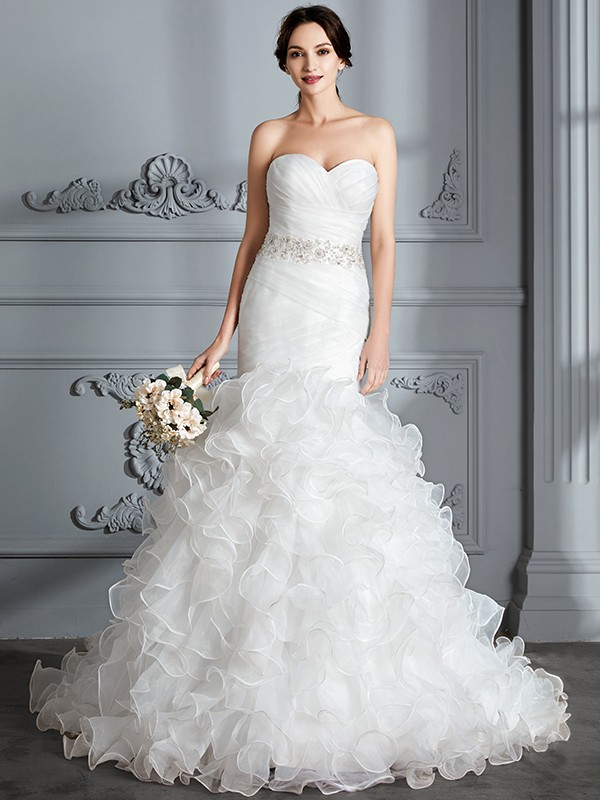 Trumpet/Mermaid Sweetheart Sleeveless Satin Sweep/Brush Train Ruffle Wedding Dresses