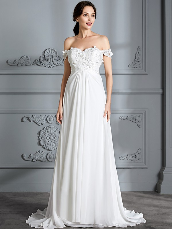 A-Line/Princess Floor-Length Off-the-Shoulder Sleeveless Chiffon Wedding Gowns