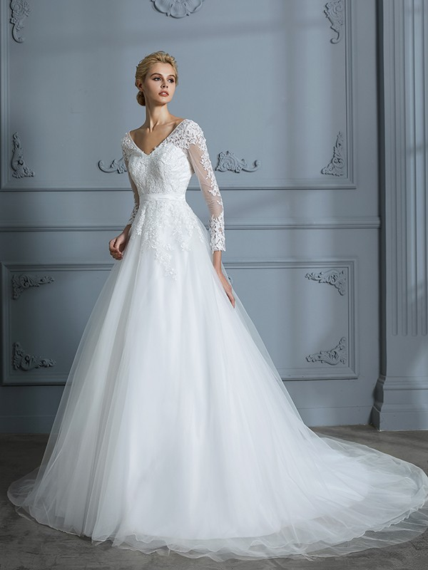 Ball Gown V-neck Long Sleeves Tulle Court Train Lace Wedding Dresses